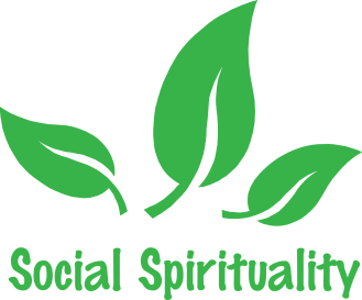 Social Spirituality logo - text with three green leaves.