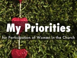 Title slide: My Priorities for Women's Participation in the Church